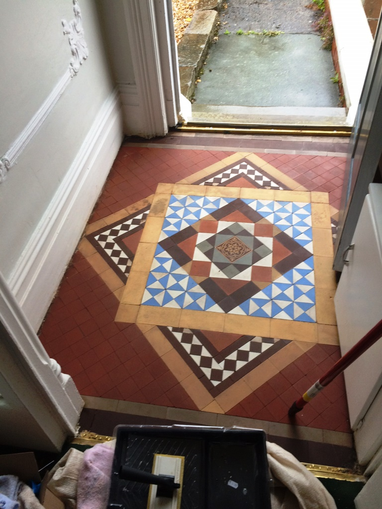 Bitumen Cleaned from Victorian Tiles in Barrow in Furness