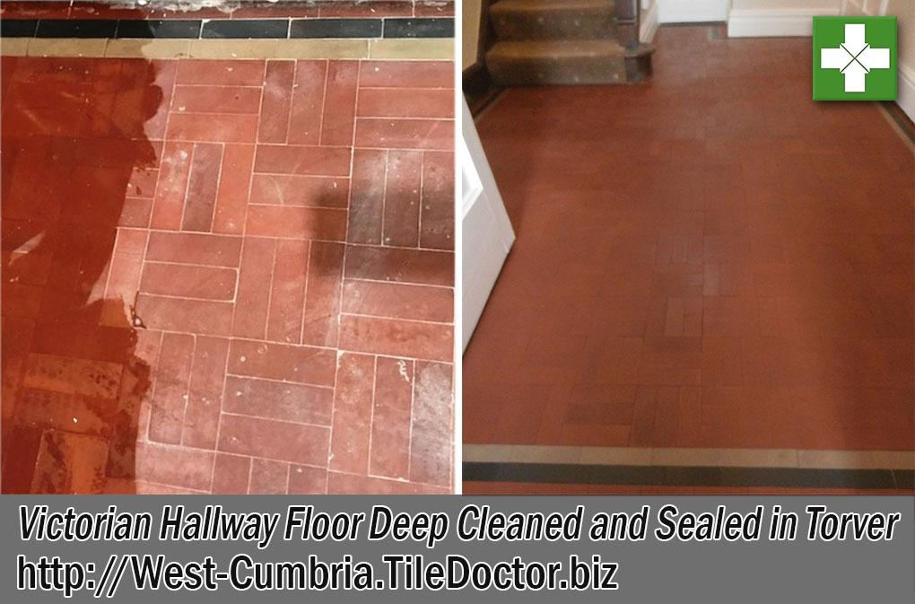 Victorian Hallway Floor Before and After Renovation Torver