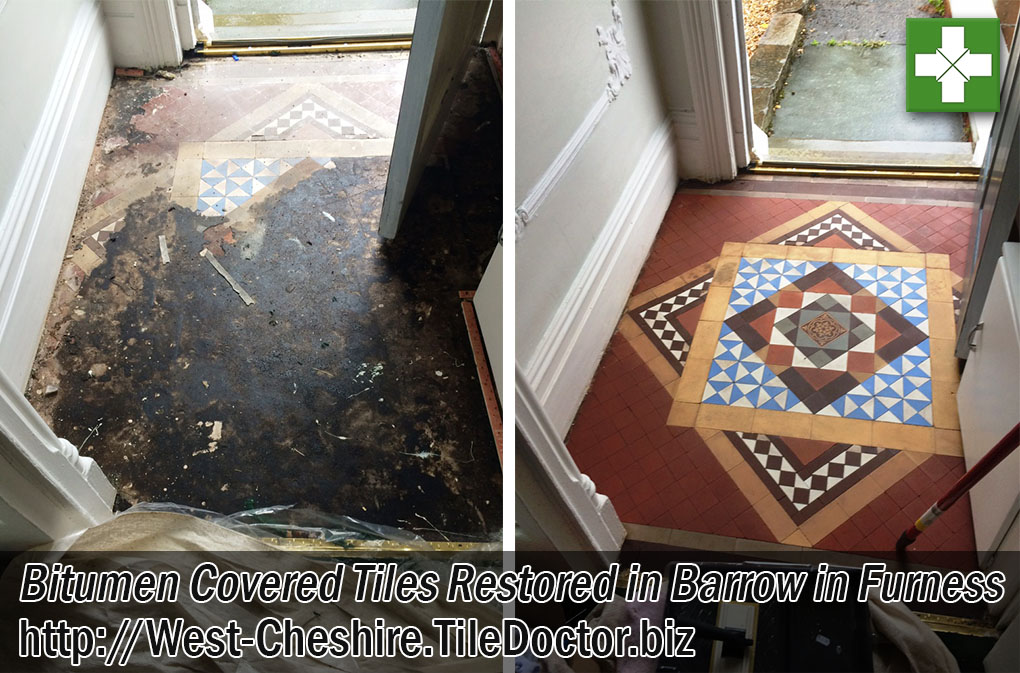 Victorian Hallway Floor Before and After Restoration Barrow-in-Furness